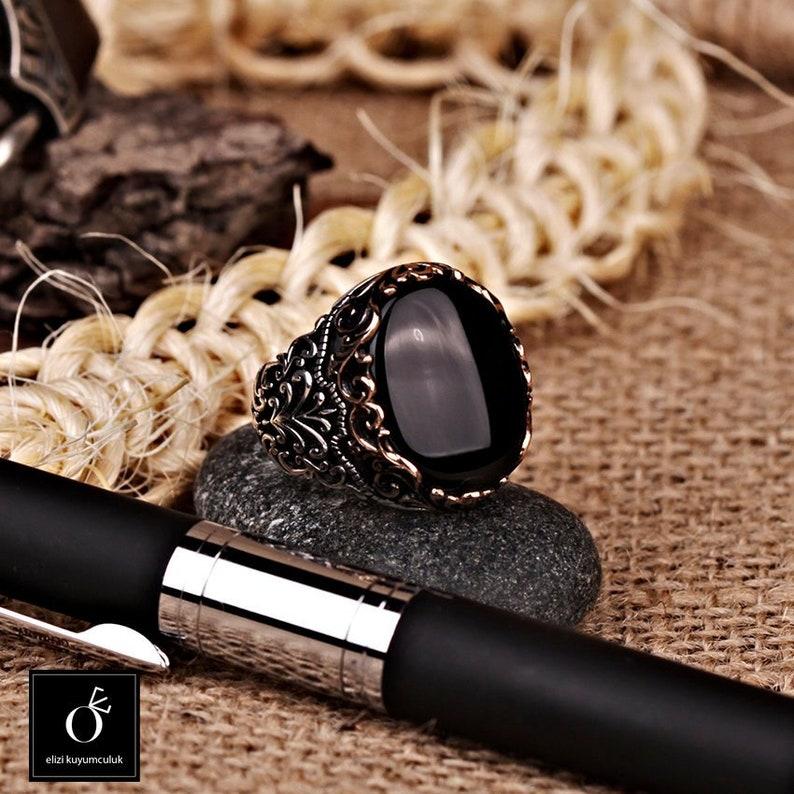 Handgemacht Neues Design 925 Sterlingsilber Schwarzer Onyx Stein Herren Damen Herrenschmuck