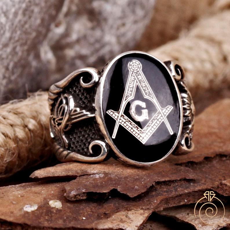 Unique Mens Letter G Ring Master Mason Custom Made Masonic image 0