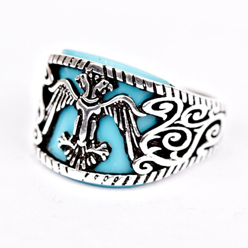 Mens Ring Double Head Eagle Masonic Ring For Men Imperial Ring Turquoise  Stone Men Jewelry Vintage Scottish Rite Ring Mason Signet Ring Cool