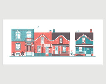 Screenprint of the houses of Saint Henri, montreal architecture, hand-printed, 9x20 inch