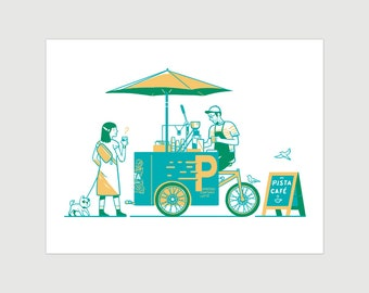 Scooter risography, Pista coffee bike, hand-printed, 8x10 inch