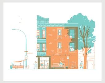 Pista coffee silkscreen, montreal architecture, hand-printed, 16x20 inch