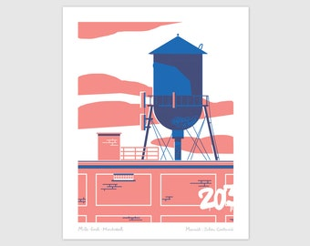 Water castle silkscreen, cistern, montreal architecture, hand-printed, 8x10 inch