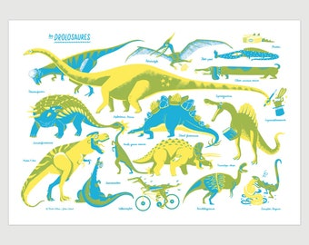 Screenprint of Drolosaurs, dinosaurs, hand printed, 27.75 x 19.5 inch