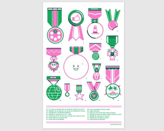 Medal risography, hand-printed, 11x17 inch