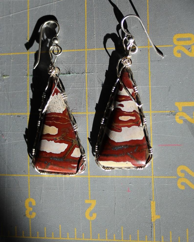 RedGreen Blanket Rhyolite Wirewrap Earrings