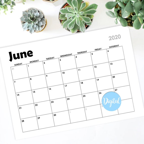 July 2019 June 2021 Calendar Wall Calendar Half Year | Etsy