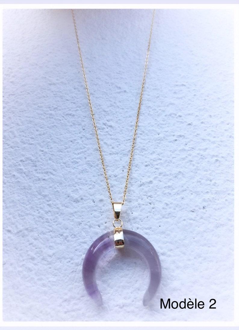 Half moon necklace stainless steel gold half moon pendant  Amethyst