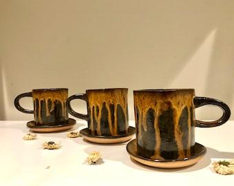 Molten Handmade Mug + Saucer Set by Tiffany Stephens Art