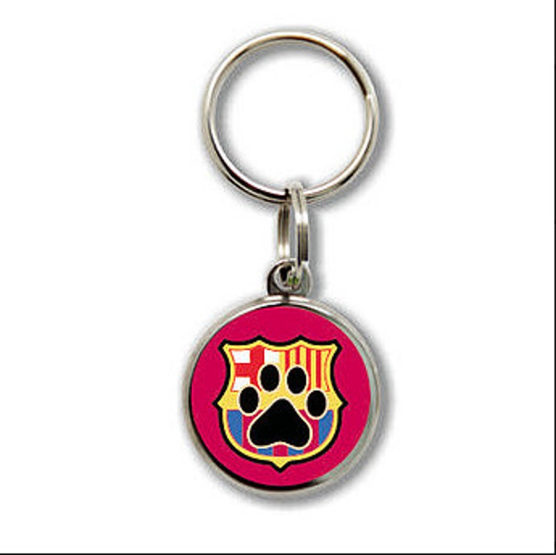 Small round STAINLESS STEEL plate with FCB Barcelona shield Barca and footprint For small or medium dog or cat Customizable