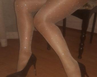 368b0227981 Crystal Nude Tights diamond tights rhinestone tights with crystals Dazzled tights  bling tights Glitter tights shiny tights bling panty hoses