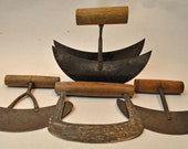 Antique Herb Choppers, Lot of 4, Primitive Forged Iron And Steel, Farmhouse Find