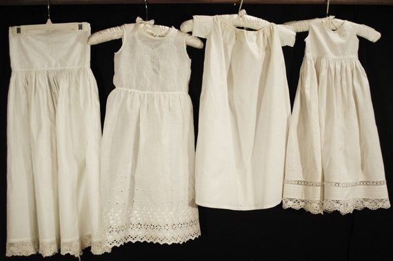 Antique Victorian Childs Girl Cotton White Slips … - image 1