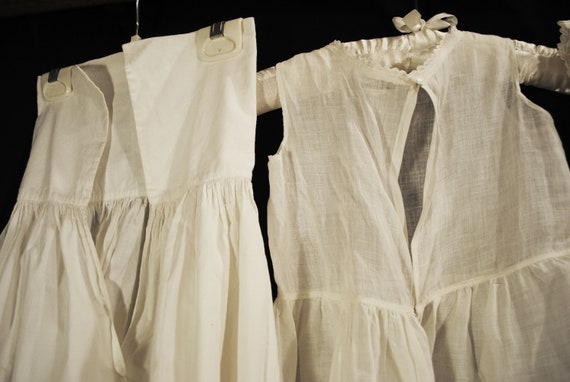 Antique Victorian Childs Girl Cotton White Slips … - image 10