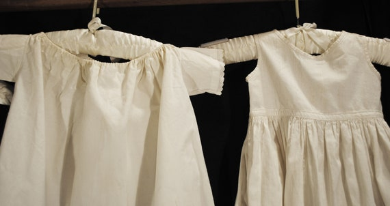 Antique Victorian Childs Girl Cotton White Slips … - image 8