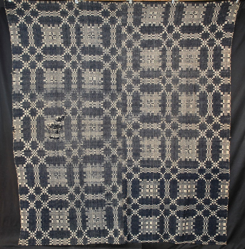 Antique Jacquard Coverlet For Display or Cutter Loom Woven image 0