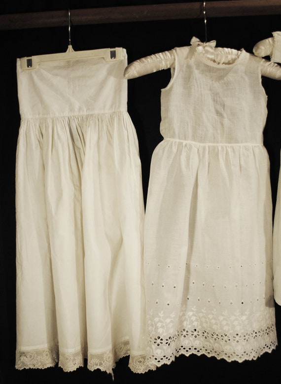 Antique Victorian Childs Girl Cotton White Slips … - image 2