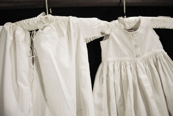 Antique Victorian Childs Girl Cotton White Slips … - image 9