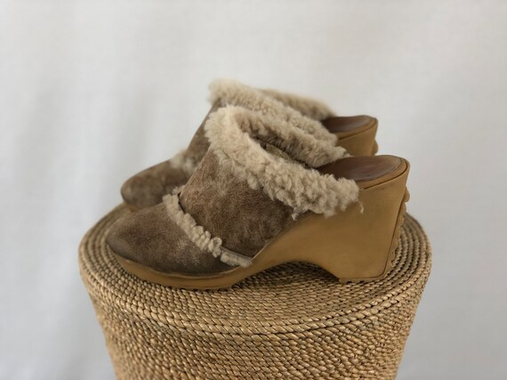 Shearling Suede Clogs Size 7.5 | 70s vibes | Handm