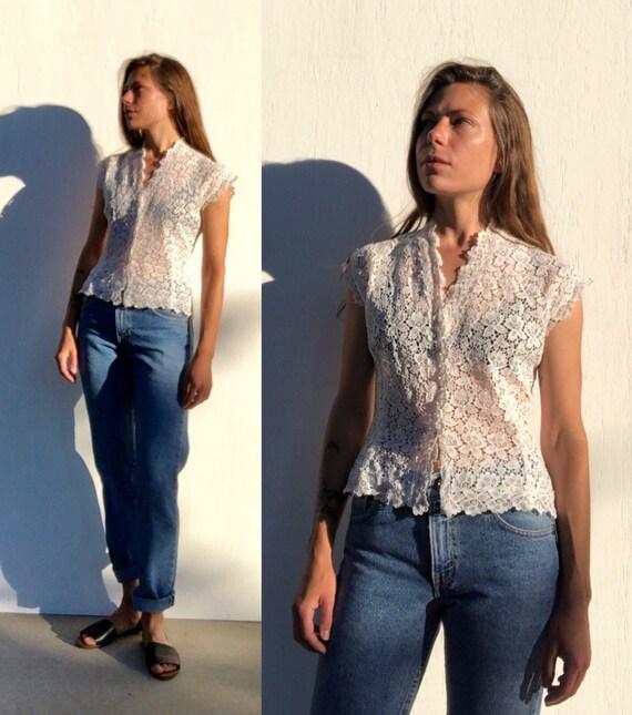 vintage guipure lace blouse size xs // boho prairi