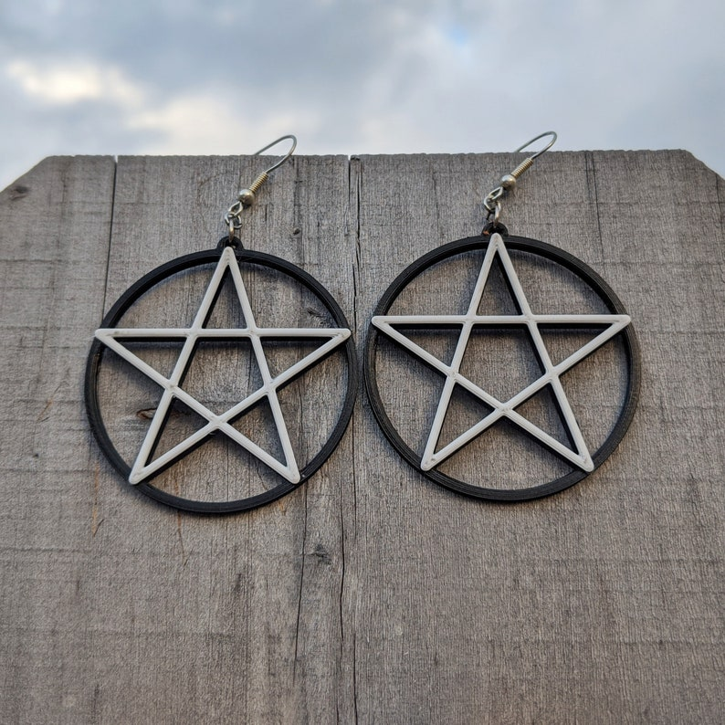 Wiccan Witchy Jewelry 3D Printed Pentagram Large Dangle Circle earrings Protection Pagan Gothic Spiritual Pentacle Earrings