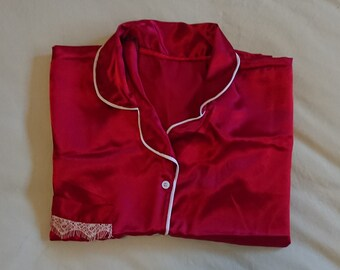 Girl s Satin Pajamas - Red - (Size Small Women s   Girl s 10-12 yo) aae2db6fa