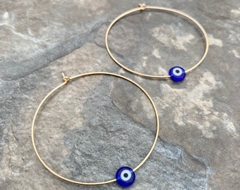 14K Gold Filled Evil Eye Hoop Earrings