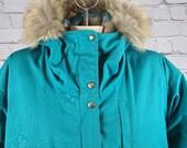 Vintage Woolrich Coyote Trim Hooded Coat, Medium