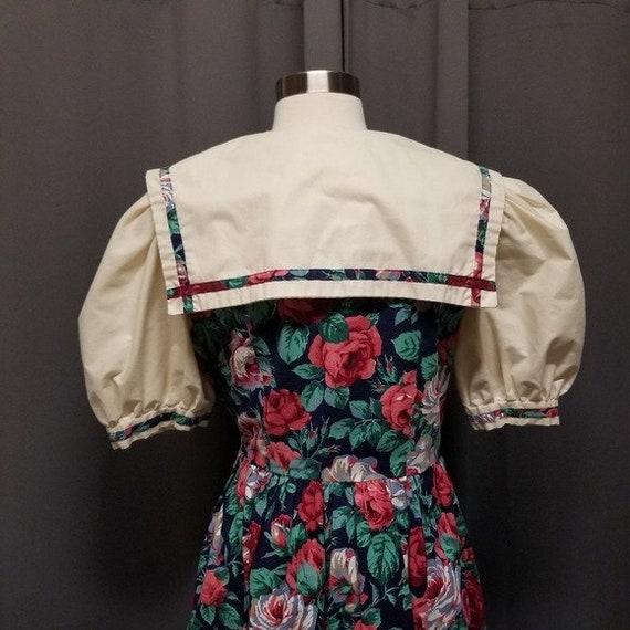 Handmade Vintage Floral Cottagecore Sailor Dress M - image 6