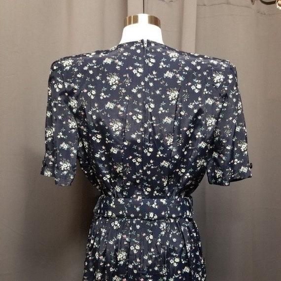 Vintage 80s Cottagecore Ditsy Floral Midi Dress L - image 7