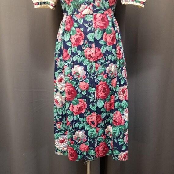 Handmade Vintage Floral Cottagecore Sailor Dress M - image 4