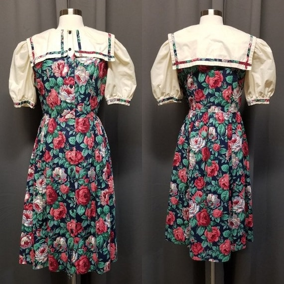 Handmade Vintage Floral Cottagecore Sailor Dress M - image 1