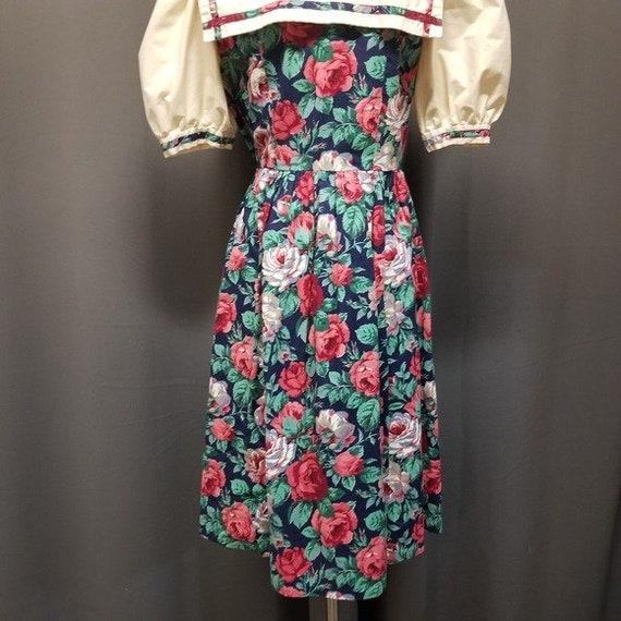 Handmade Vintage Floral Cottagecore Sailor Dress M - image 7