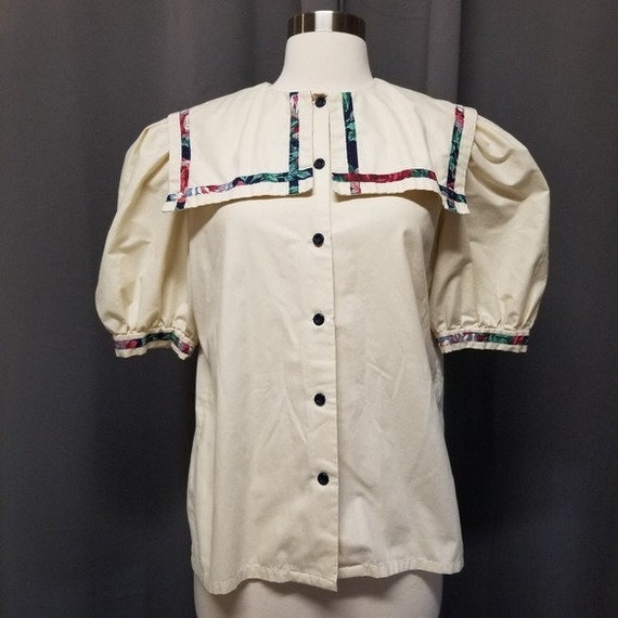 Handmade Vintage Floral Cottagecore Sailor Dress M - image 8
