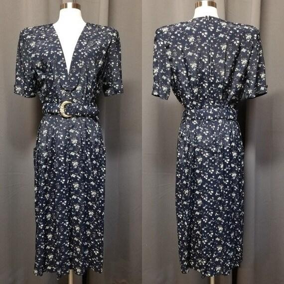 Vintage 80s Cottagecore Ditsy Floral Midi Dress L - image 1