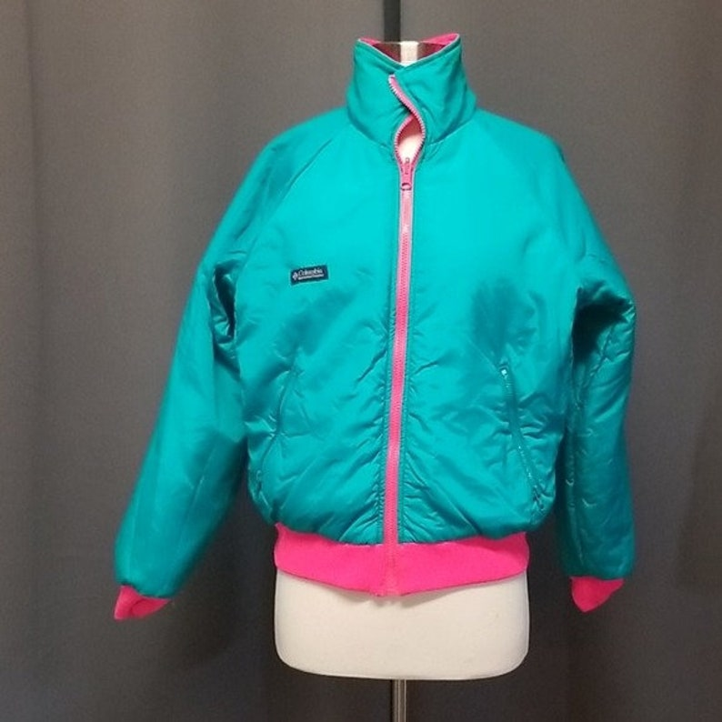 Colombia Criterion Vintage Retro 80s 90s Colorblock Winter Sportswear Puffer Coat Jacket Womans Large Gorpcore Zip Out Reversible Insulated