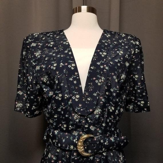Vintage 80s Cottagecore Ditsy Floral Midi Dress L - image 2