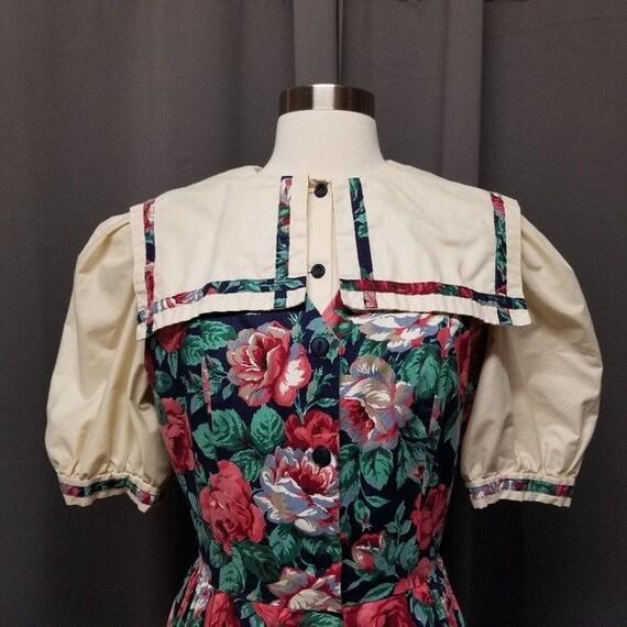 Handmade Vintage Floral Cottagecore Sailor Dress M - image 2