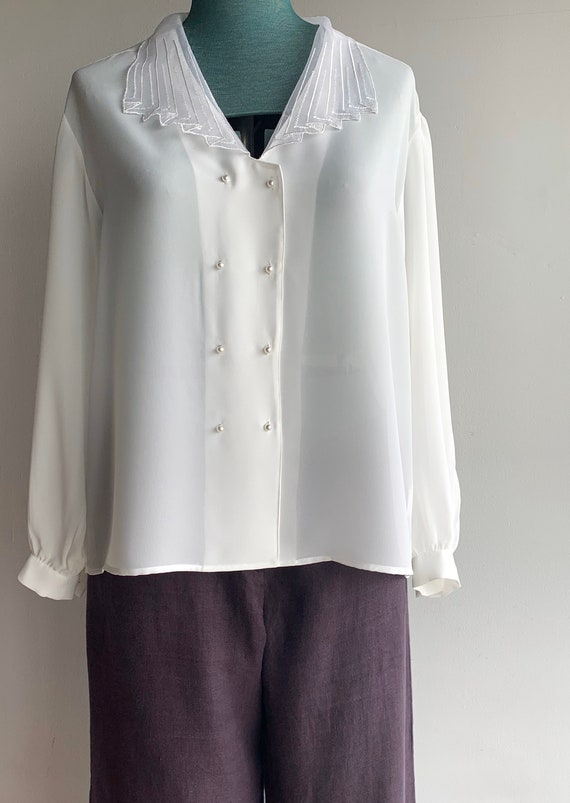 80s Semi-transplant Sleek Blouse Shirt Top/Snow Wh