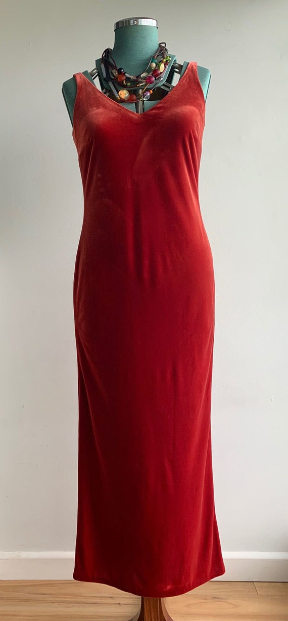 80s 90s Velvet Scarlet Red Evening Dress with Matc
