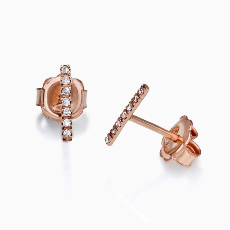 Rose Gold Earring  Bar Earring  Diamond Earring  Diamond Bar Earrings  Fashion Jewelry  Fine Jewelry  Diamond  Rose Gold and Diamonds