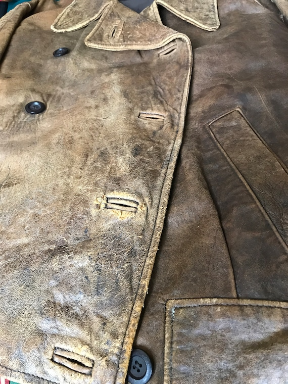 Mary Quant vintage distressed leather jacket