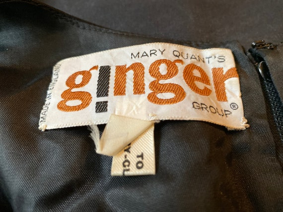 Mary Quant Ginger Group 60s black satin minidress