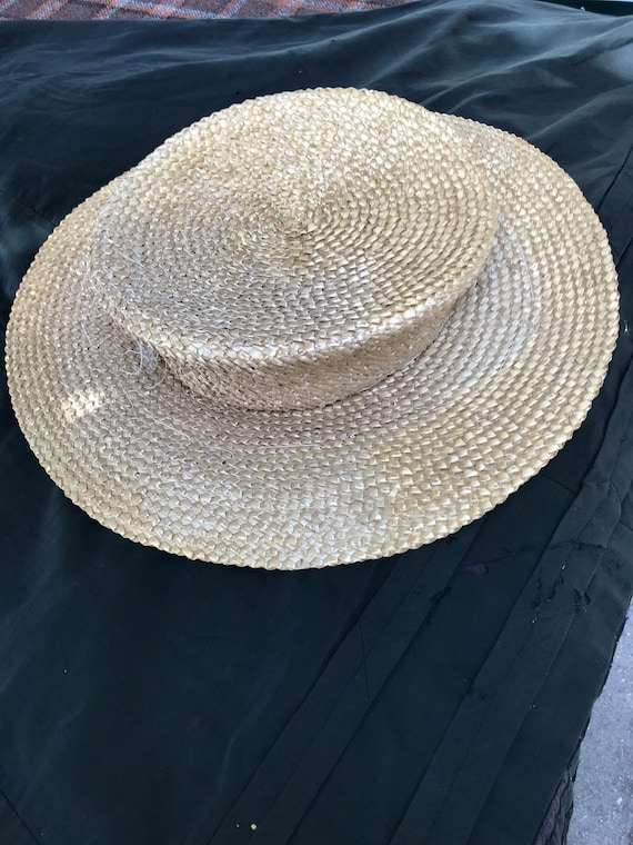 Vintage French very wide brimmed straw boater circ