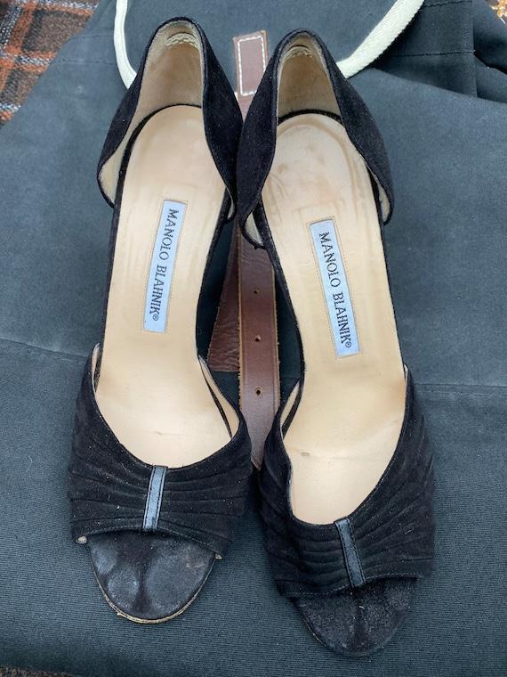 Manolo Blahnik black suede high heel shoes