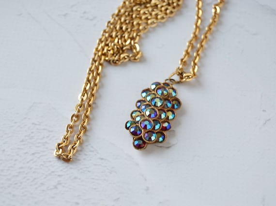 Charm Necklace Gold Filled Charm Necklace Czech Glass Teardrop  Necklace Vintage Findings Findings Vintage Brass Necklace
