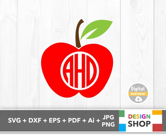 Apple Svg Apple Monogram Svg Apple Monogram Frame Apple Etsy