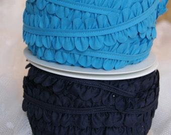 1m floral ribbon, blue, light blue