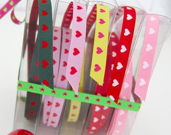 1 m webbing, hearts, red, pink, white, color mix