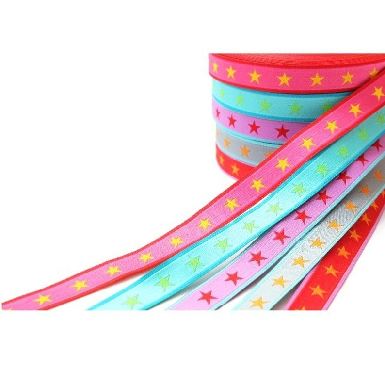 1 m webband stars pink pink grey yellow blue color mix image 0